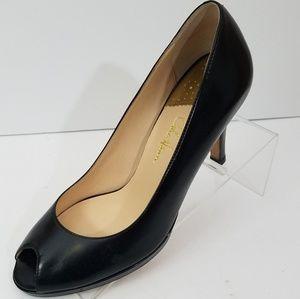 Size 8 B Cole Haan Nike Air  Black Peep Toe